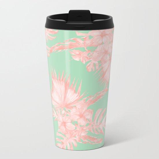 Dreaming of Hawaii Seashell Pink + Light Green Metal Travel Mug