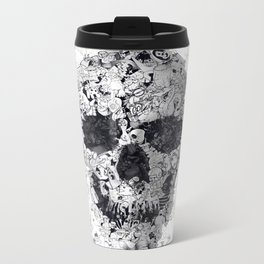 Doodle Skull BW Metal Travel Mug