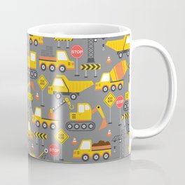Construction Vehicles Gray Pattern Coffee Mug