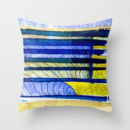 WAY OF THE OCEAN - Yellow & Blue Waves Throw Pillow