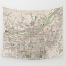 Vintage Map of Portland Oregon (1912) Wall Tapestry