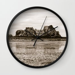 House between rocks in Brittany in black and white Wall Clock