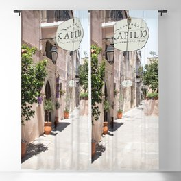 Street In Greece Art Print | Pastel Color Village Houses Photo | Europe Summer Travel Photography Blackout Curtain