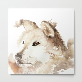 Wolf in the Mist Metal Print