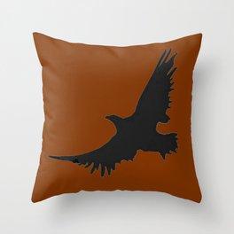 COFFEE BROWN FLYING BIRD SILHOUETTE Throw Pillow