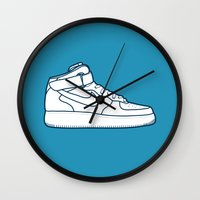 nike Wall Clocks featuring #13 Nike Airforce 1 by Brownjames Prints
