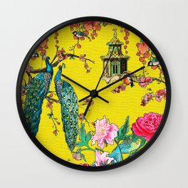Vintage Oriental Peacocks, Peonies, Birds & Pagodas Print Wall Clock