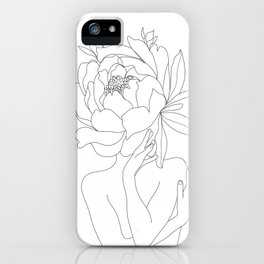 Minimal Line Art Woman Flower Head iPhone Case