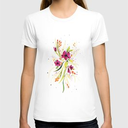 Floral Watercolor on White T-shirt