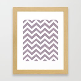 Heliotrope gray - grey color -  Zigzag Chevron Pattern Framed Art Print