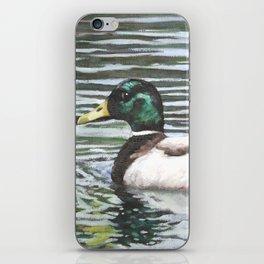 Single mallard duck in water iPhone Skin