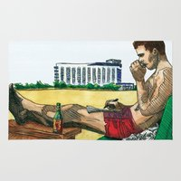 hunter s thompson Area & Throw Rugs featuring Hunter S. Thompson, The Rum Diary by Abominable Ink by Fazooli