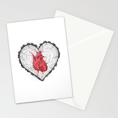 wooden heart Stationery Cards
