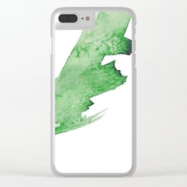 Emerald Green Abstract Watercolor Swipe Clear iPhone Case