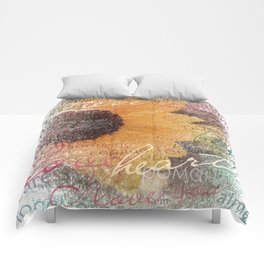 Words of Love Sunflower Comforters