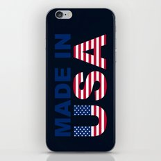 Made in USA text with USA flag iPhone & iPod Skin