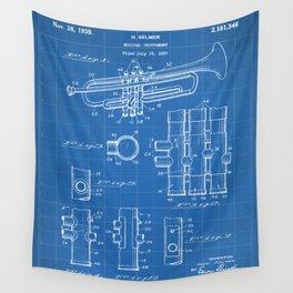 Selmer Trumpet Patent - Trumpet Art - Blueprint Wall Tapestry