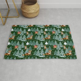 Corgis in the winter mountains - green pattern Rug