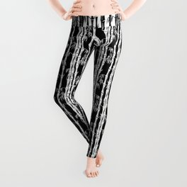 Bamboo Forest Pattern - Black White Grey Leggings