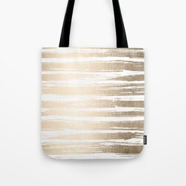 White Gold Sands Painted Stripes Tote Bag