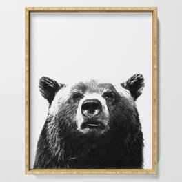 Black and white bear portrait Serving Tray