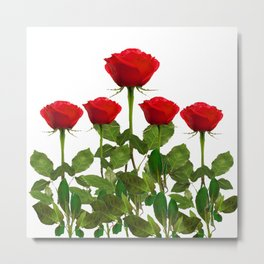 ORIGINAL GARDEN DESIGN OF RED ROSES ON WHITE Metal Print