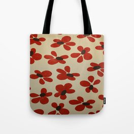 Red and Cream Pattern Design  - Abstract Flower - Wild Veda Tote Bag