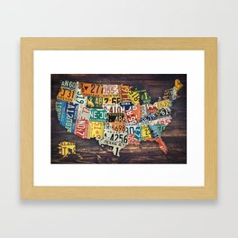 License Plate Map Of The United States Framed Art Print
