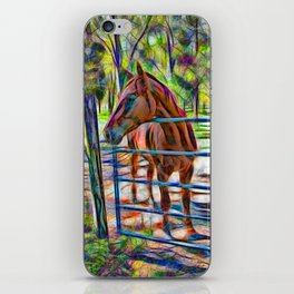Abstract horse standing at gate iPhone Skin