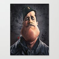 "brad pitt Canvas Prints featuring Brad ""Aldo Raine"" Pitt by Khasis Lieb"