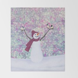 snowman and chickadees Throw Blanket