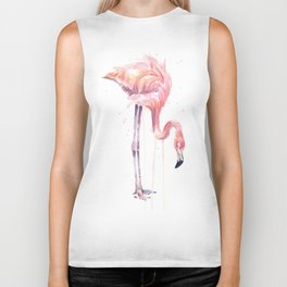Flamingo Painting Watercolor Biker Tank