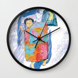 Sleeping and dreaming illustration, design for children Wall Clock