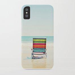 Beach Chair Photography, Colorful Coastal Ocean Landscape iPhone Case
