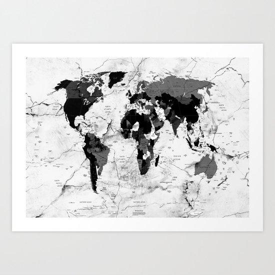 world map political marble Art Print