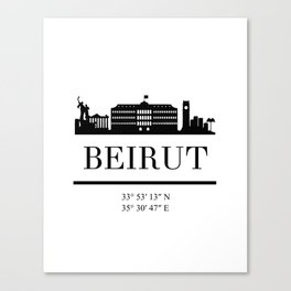 BEIRUT LEBANON BLACK SILHOUETTE SKYLINE ART Canvas Print