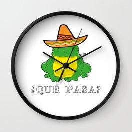 Qué Pasa? Funny Mexican Toad With Sombrero Cigarette Frogs & Amphibians Design Wall Clock