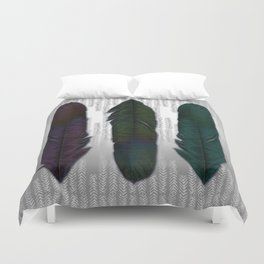 Feathers on silver Duvet Cover