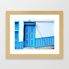 Doors - Blue and White Framed Art Print