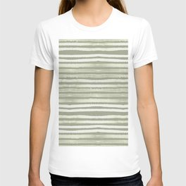 Simply Shibori Stripes Green Tea and Lunar Gray T-shirt