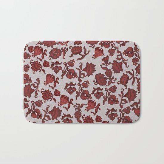red flowers Bath Mat