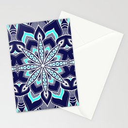 Navy Blue Aqua Flower Mandala Pattern Stationery Cards