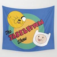 finn Wall Tapestries featuring The Jake & Finn Show. by Agu Luque