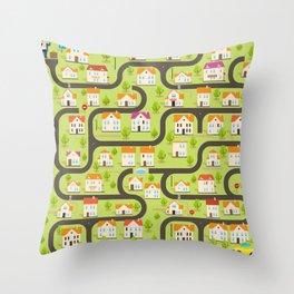Vector Funny Maze Game. Map of Cartoon Small Town Throw Pillow