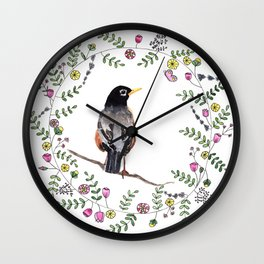 American Robin With Whimsical Flower Wreath Wall Clock