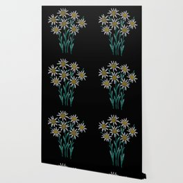 Embroidered Flowers on Black 02 Wallpaper