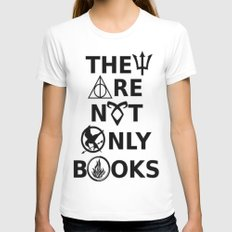 They Are Not Only Books MEDIUM White Womens Fitted Tee