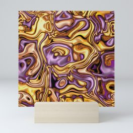 funky melted purple and gold Mini Art Print