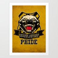 hufflepuff Art Prints featuring Hufflepuff Pride by Geekleetist