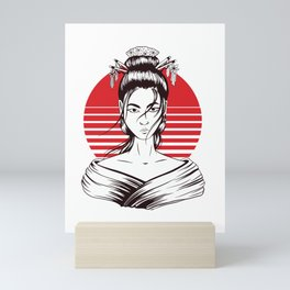 Japanese geisha woman Mini Art Print